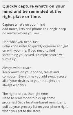 Google Keep English Version