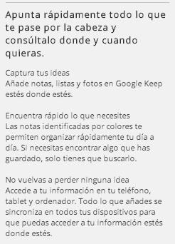 Google Keep Spanish Translation